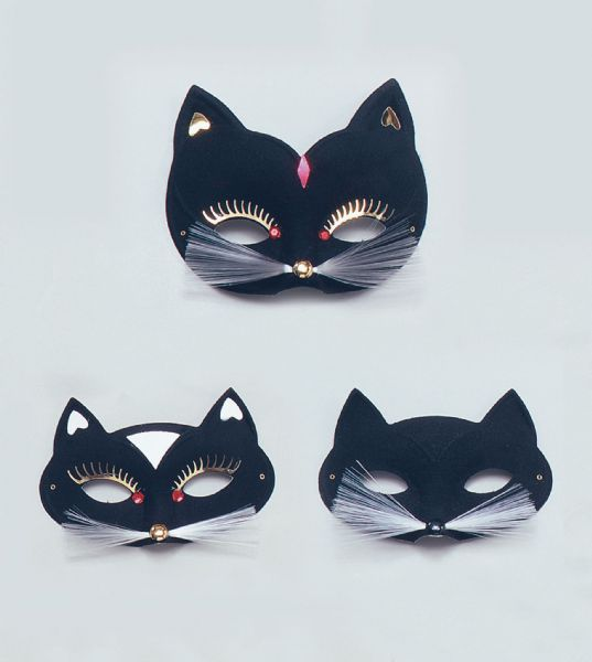 Black Cat Domino Eye Mask Eyemask Feline Pussy Pet Animal Fancy Dress